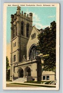 Richmond IN, Reid Memorial United Presbyterian Church, Vintage Indiana Postcard