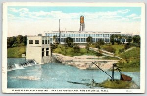 New Braunfels Texas~Planters Merchants Mill~Dam & Power Plant~Water Tower~1920s