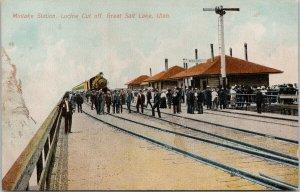 Midlake Train Station Great Salt Lake UT Lucine Cut Off Railway Postcard E88