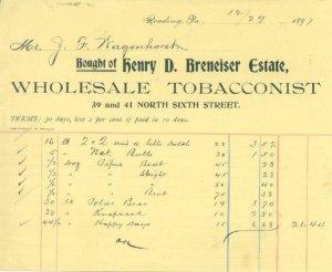 READING PA - HENRY BRENEISER Estate - WHOLESALE TOBACCONIST /  INVOICE / 1897