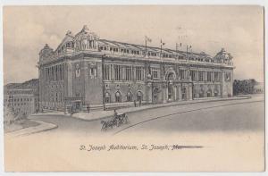 1907 ST JOSEPH Missouri MO Postcard AUDITORIUM Wagon