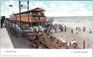 GALVESTON, TX Texas     SEA WALL & BEACH     c1910s      Postcard