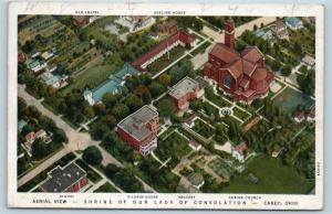 Postcard OH Carey Airview Shrine of Our Lady of Consolation Named Buildings I22