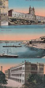 Malta Floriana Military Barracks Fort Lascaria St Julians Church 3x Postcard s