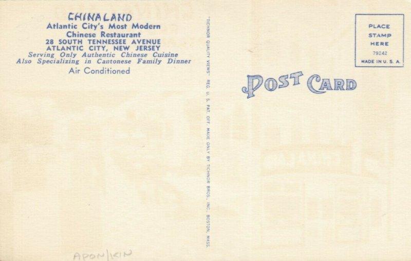 ATLANTIC CITY , New Jersey , 1930s-40s ; CHINALAND Restaurant