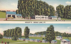 DERBY LINE , Vermont , 1930-40s ; Kelley's Gas Station & Cabins