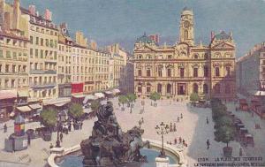 La Place Des Terreaux, La Fontaine Bartholdi At L'Hotel De Ville, Lyon (Rhone...