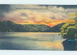 Unused Linen SUNRISE ON CHEAT LAKE Morgantown West Virginia WV F3541