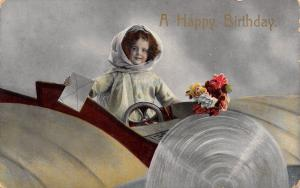 Little Girl in Plane~1918 Not Made in Germany~Saxony Colorized RPPC