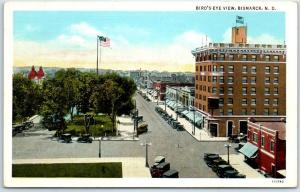Bismarck, North Dakota Postcard Bird's-Eye View Downtown Street Scene c1930s
