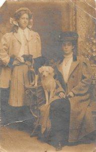 F27/ Animal RPPC Photo Postcard c1920s Dog Well-Dressed Girls 15