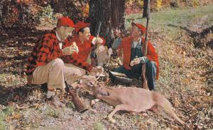 Hunters Having Lunch After a Good Kill, Dead Deer, WEIR, Quebec, Canada, 40-60's