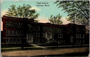 Lansing, Michigan Postcard HIGH SCHOOL Building View / 1912 MI Cancel