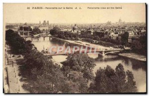 Old Postcard Panorama Paris on the Seine