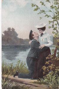 Romantic Couple Embracing Along Lakeside