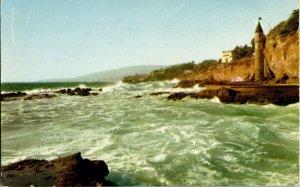 VTG Chrome Laguna Beach California Cliffs Overlooking Pacific Ocean Surf