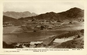 pakistan, Afridi Villages in Khyber Pass (1920s) RPPC Postcard