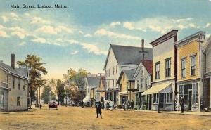 Lisbon ME Main Street Storefronts Old Car Busy Scene Postcard
