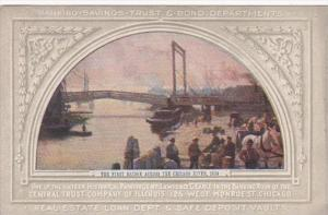 Ilinois Chicago Central Trust Company Painting The First Bridge Across Chicag...