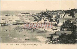 Old Postcard Arcachon General view of the Beach