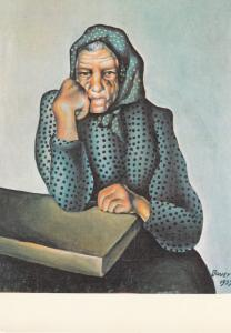 Art painting postcard KONSTANTIN BAUER - Starost` (Starenka s podopretou rukou)