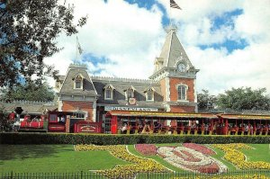 DISNEYLAND Mickey In Flowers/Railroad/Entrance Mickey Mouse Continental Postcard