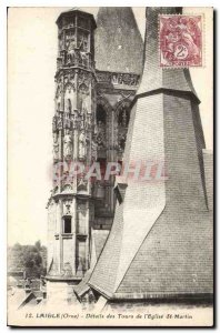 Old Postcard Laigle Orne details Towers of St. Martin's Church