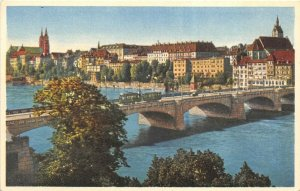 Basel Switzerland 1920s Postcard Mittlere Rheinbrucke Panorama Bridge