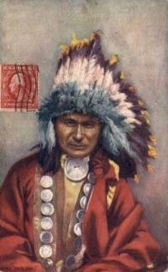 Chief Red Owl Tucks Indian Indians, Unused light wear close to grade 2, pos...