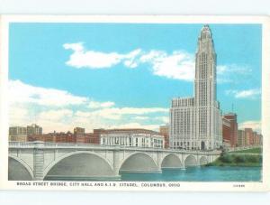 Unused W-Border CITY HALL AND BRIDGE Columbus Ohio OH d4206