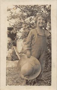 F37/ Interesting Real Photo RPPC Postcard c1910 Farmer Boy Smile Straw Hat