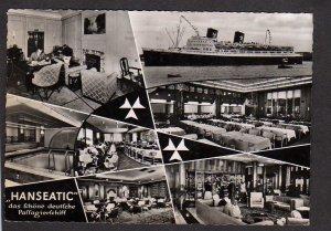 German Germany Ship TS  Hanseatic Pool Dining Room Real Photo Postcard RPPC