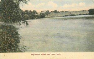 Hand Colored Hofer 1908 Republican River McCook Nebraska Postcard 20+-6711
