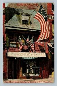 Philadelphia PA-Pennsylvania Betsy Ross House, Old Glory Vintage c1911 Postcard