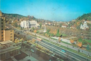 Postcard Romania RPR  Brasov aerial view bus