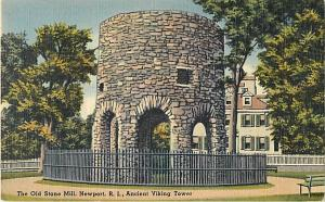 Linen Card of The Old Stone Mill Newport Rhode Island RI, An
