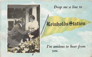 Reinholds Pennsylvania~Drop a Line to Reinholds Station~Man Flirting w Lady~1910