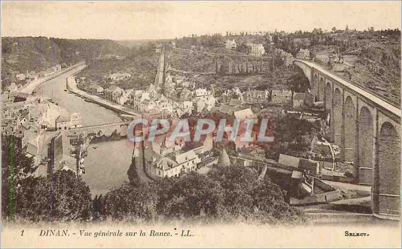 Old Postcard view Generale Dinan on the Rance
