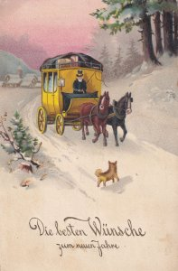Austrian Dog Running To Horse & Cart Christmas Old Postcard