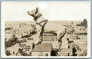 CROSBY S.D. SCENE w/ DOG ANTIQUE 1916 PHOTOMONTAGE REAL PHOTO POSTCARD RPPC