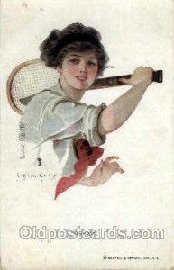 Artsist Earl Christy Tennis 1920 light wear postal used unknown
