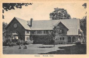 Norfolk Connecticut~New Tree Before the Library~Harry Coop Postcard 1940s?
