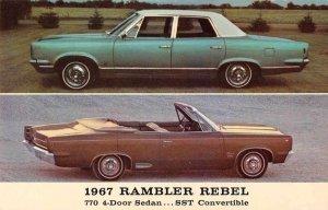 1967 Rambler Rebel SS Convertible Auto Advertising Vintage Postcard JF685262