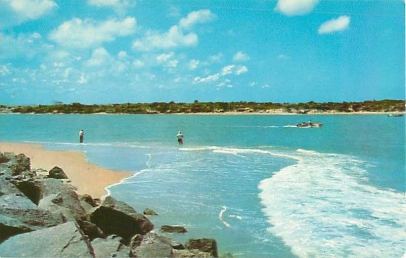 Florida Salt Water Fishermen at Beach at Canaveral Harbor Entrance Postcard