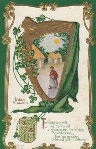 IRISH VILLAGE, Poem, Gold Harp, Coat of arms, Village Scene, Clovers, 1900-10s