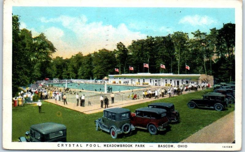 Bascom, Ohio Postcard Crystal Pool, Meadowbrook Park Bathing Scene 1938 Cancel
