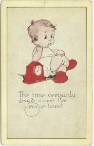 Time Certainly Drags Sentimental Baby Comics Vintage Postcard Old Card