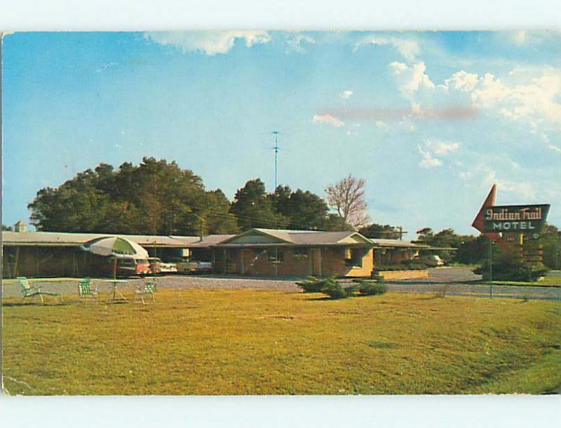 Unused Pre-1980 OLD CARS & INDIAN TRAIL MOTEL McAlester Oklahoma OK s7234