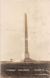 B71/ Toledo Ohio Postcard Real Photo RPPC 1908 Ft Meigs Monument