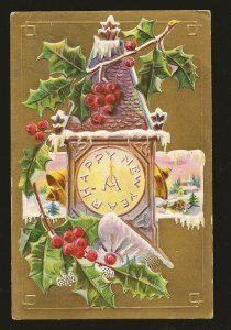 New Year Series No 21 Embossed Color Postcard Postmarked Barrie Ont 1910